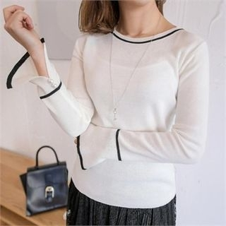 Piped Slit-Sleeve Knit Top 1057393126