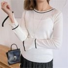 Piped Slit-Sleeve Knit Top 1596