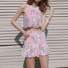 Set: Flower Print Bikini + Skirt 1596