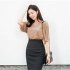 Round-Neck Fray-Edge Ribbed Top 1596
