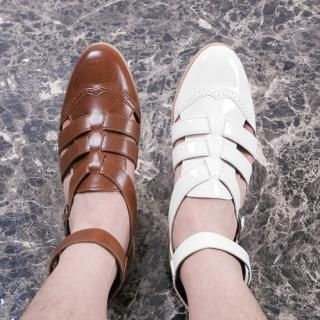 Picture of ISNOM Faux-Leather Strappy Sandals 1022742460 (Sandals, ISNOM Shoes, Korea Shoes, Mens Shoes, Mens Sandals)