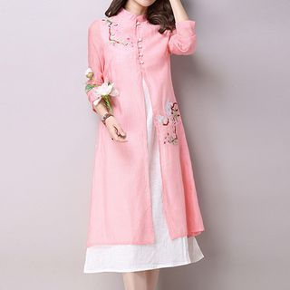Flower Embroidered Color Panel Long Sleeve Midi Dress 1060446435