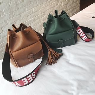 Set: Bucket Bag + Lettering Strap Crossbody