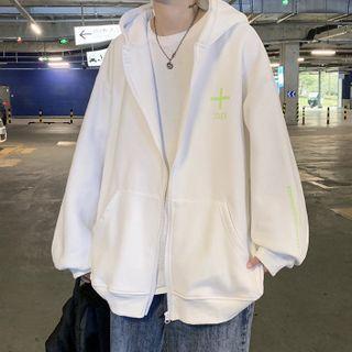 Lettering Print Hooded Zip Jacket