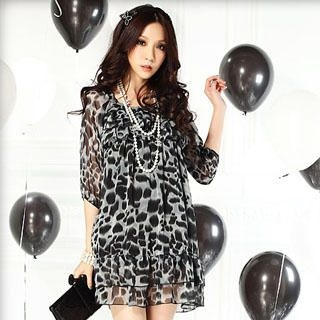 Buy Tian Mu Leopard Print Chiffon Dress 1022938365