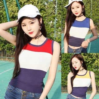 Color Block Sleeveless Knit Top 1060005044