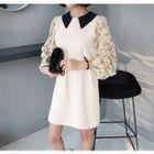 Collared Flower Pattern Chiffon-Sleeve Mini Dress 1596