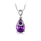 Purple cz water drop shape pendant