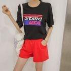 Set: Lettering Cotton T-Shirt + Band-Waist Shorts 1596
