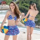 Set: Printed Bikini Top + Swim Skirt + Cover-Up 1596