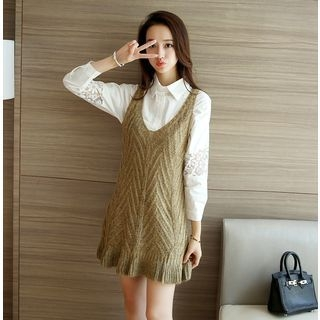 Set: Lace Blouse + Knit Sleeveless Dress 1057922044