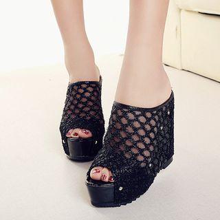 Platform | Fishnet | Glitter | Sandal | Wedge | Mesh