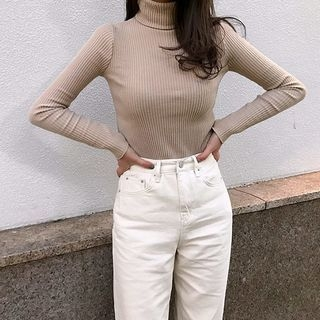 Turtle-Neck Ribbed Slim-Fit T-Shirt 1063990595