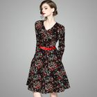 V-Neck Printed A-Line Dress 1596