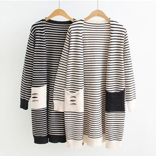 Open-Front Striped Long Cardigan