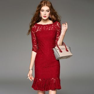 Elbow-Sleeve Sheath Lace Dress 1052894534