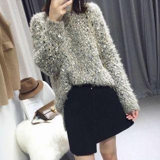 Image of Melange Long-Sleeve Knit Sweater