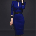 Long-Sleeve Contrast-Trim Cutout Sheath Dress 1596