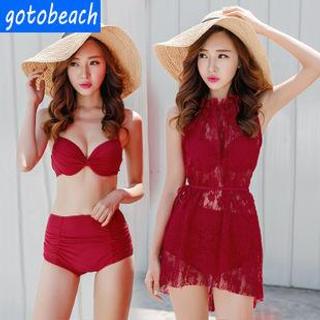 Set: Shirred Bikini + Lace Cover-Up 1044743986