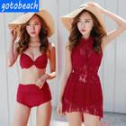 Set: Shirred Bikini + Lace Cover-Up 1596