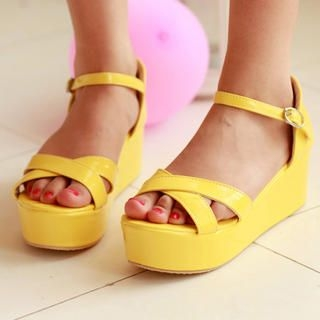 Patent Cross-Strap Sandals
