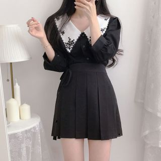 Image of Elbow-Sleeve Peter Pan Collar Frill Trim Blouse