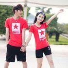 Set: Couple Short-Sleeve Star-Print T-Shirt + Shorts 1596