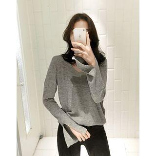 V-Neck Slit-Sleeve Knit Top 1053071862