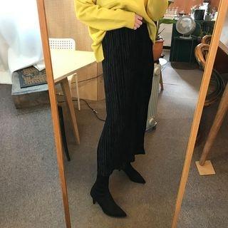 Band-Waist Pleated Long Skirt 1063768896