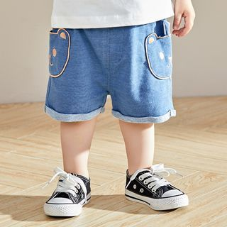 Image of Baby Embroidered Denim Shorts
