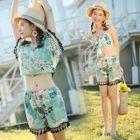 Set: Floral Print Bikini + Cover-Up + Swimshorts 1596