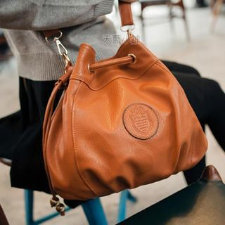 Faux-Leather Bucket Bag