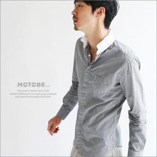 Buy MOTOBE Mandarin-Collar Long-Sleeve Check Shirt 1021438845