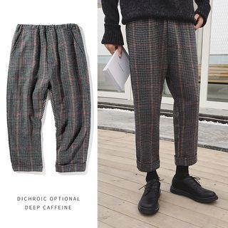 Plaid Elastic Waist Pants