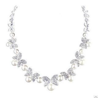 Faux Pearl & Rhinestone Necklace 1035859315