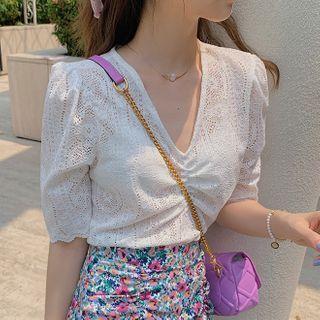 Image of Short-Sleeve Shirred V-Neck Lace Top