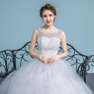 Image of Embellished Sleeveless Wedding Ball Gown