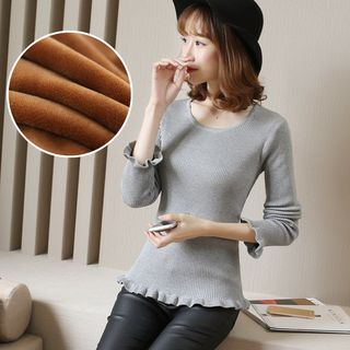 Round Neck Rib Knit Top 1062897109