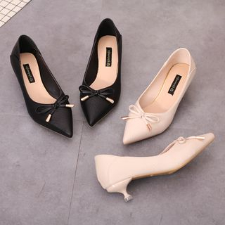 Image of Bow Detail Pointed Kitten Heel Pumps