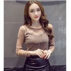 Sheer Long-Sleeve Top / Faux Leather Mini Skirt / Set: Sheer Long-Sleeve Top + Faux Leather Mini Skirt 1596