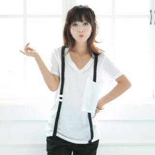 Buy Ukki V Neck T-Shirt with Suspenders 1023036610