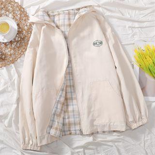 Image of Reversible Dog Embroidered Zip Jacket