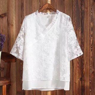 Sheer-Covered V-Neck Elbow-Sleeve T-Shirt 1060214608