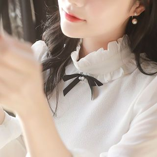 Image For Frill-Neck Puff-Sleeve Blouse with Brooch