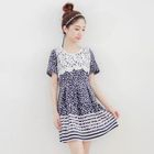 Short-Sleeve Lace-Panel Dotted Dress 1596
