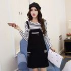 Set: Striped Long Sleeve T-Shirt + Letter Embroidered Pinafore Dress 1596