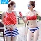 Set: Dotted Bikini + Dotted Tank Top + Striped Swim Shorts 1596