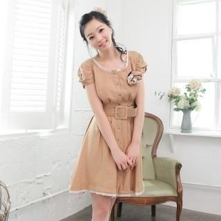 Buy NamuDDalgi Set: Button-Front Twisted Sleeve Dress + Belt + Brooch 1023039410