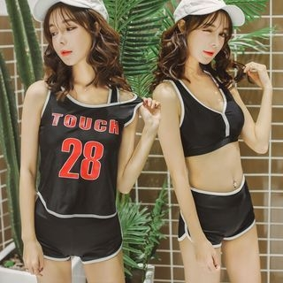 Set: Lettering Tank Top + Bikini Top + Swim Shorts 1060418264