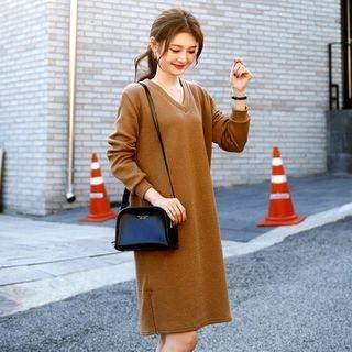 V-Neck Ribbed Sweater Dress 1062376132
